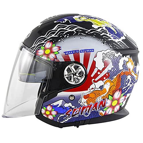 Casco de Motocicleta Medio Retro,Casco Abiertos Adulto,CertificacióN ECE Casco Jet Moto con Forro Extraíble Y Transpirable,Casco Moto para Motos para Hombres Y Mujeres C,M=54~55cm