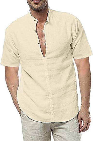Playera de lino suelta para hombre, manga corta, camisas ...