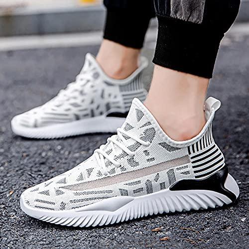 Fnho Calzado para Correr por Carretera,Zapatos de Gimnasia Zapatos Ligeros,Color Colores Zapatillas de Deporte Casuales, Zapatillas de Running de Tendencia-Negro_44