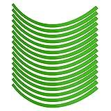 Pegatinas de rueda de 16 piezas, pegatina de cinta de rayas reflectante de rueda de motocicleta de coche Universal, película de decoración de rueda(verde fluorescente)