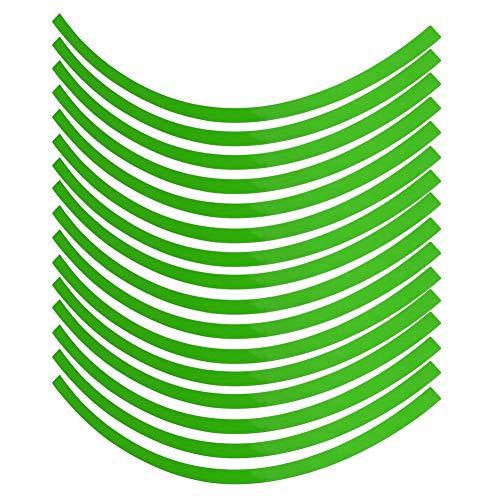 Etiqueta engomada de la rueda, película de la decoración de la cinta adhesiva de la cinta de la raya de la rueda de la motocicleta del coche universal 6 colores(verde fluorescente)