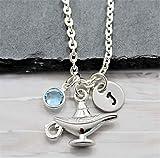 Aladdin Lamp Necklace - Genie Lamp Jewelry - Personalized Birthstone & Initial