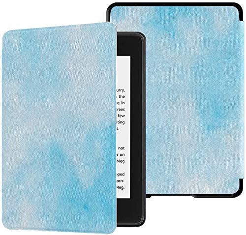 Funda de Tela Impermeable para Kindle Paperwhite Completamente Nueva (décima generación, versión 2018), Funda para Tableta con ilustración de Marco de Tonos celestes claros