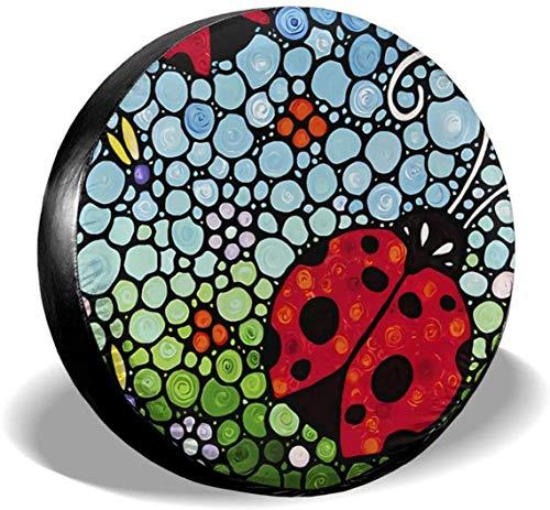 MODORSAN Caricatura Seven-Spot Ladybug Cubierta de neumático de Rueda de Repuesto Poliéster Cubiertas de Rueda universales para Jeep Trailer RV SUV Accesorios de camión, 16 Pulgadas