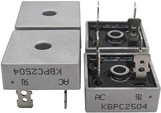 Taiss / 4Pcs KBPC2504 400V 25A AC to DC Full Wave Single Phase Metal Housing Bridge Rectifier (Warranty 1 Years) KBPC25-04