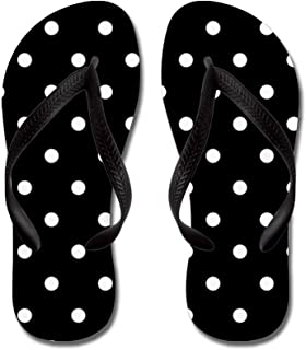 Black and White Polka Dots Flip Flops, Funny Thong Sandals, Beach Sandals