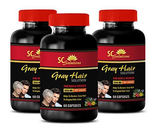 Energy Pills - Anti-Gray Hair Solution - for Men and Women - zinc Oxide - 3 Bottles Supplements (180 Capsules)