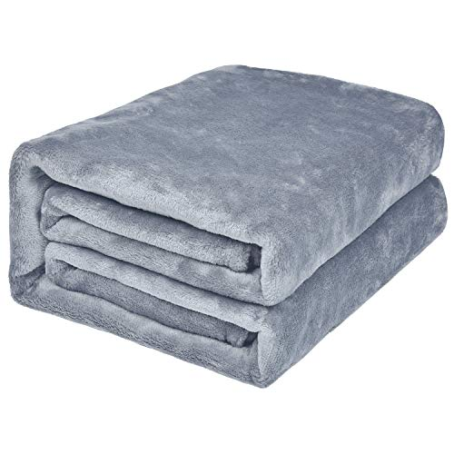 EHC Super Soft Fluffy Snugly Solid Flannel Fleece Throws for Sofa Bed Blankets, Light Grey 200cm x 240cm