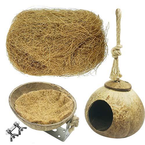 Allazone 3 Stück Vogelnest aus Kokosnuss Vogelnest aus Kokosnuss aus Naturholz für Käfig, Spielzeug, Wellensittich, Innendekoration