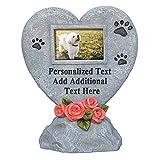 PETAFLOP Personalisierte Gedenksteine Gedenktafel für Haustiere im Formen Herz mit Bilderrahmen Querformat und Wunschtext