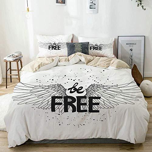 Juego de funda nórdica beige, mensaje Be Free, estilo de vida, estilo de tatuaje, lema, arte conceptual, ilustración, juego de cama decorativo de 3 piezas con 2 fundas de almohada, fácil cuidado, anti