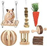 Fulfun Hamster Chew Toys, 7Pack Natural Wooden Pine Guinea Pigs Rats Chinchillas Toys Accessories Dumbells Exercise Bell Roller Teeth Care Molar Toy for Bunny Rabbits Gerbils