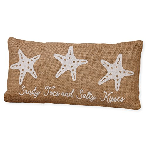 Sandy Toes and Salty Kisses Starfish 6 x 12 Burlap Decorative Throw Pillow