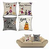 ofkpo 4 pezzi cuscino decorativo per halloween con pipistrello zucca piccola strega elemento