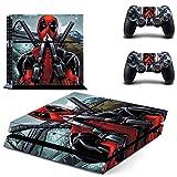 Pegatina de vinilo para consola Playstation 4 y 2 mandos de la película X-Men Deadpool Ps4