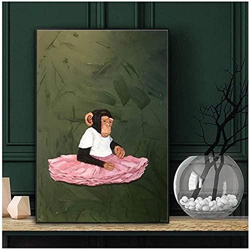 YHJK Obra de Arte Pintura Vestido Mono Animal póster e Imagen Impresa Sala de Estar impresión decoración del hogar 70x90 cm sin Marco