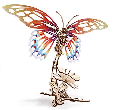 UGEARS Schmetterling 3D Holzpuzzle Erwachsene - 3D Modellbausatz - Modellbaukästen für Erwachsene Jugendliche - Lasergeschnittener Insekt 3D Puzzle Holzbausatz Kreatives Modellbau Set ohne Klebstoff