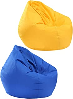Homyl 2PCS Extra Large Classic Bean Bag Chair Cover, Indoor Outdoor Garden Beanbag Seat, Stuffed Animal Toy Organizer, 30x30x35 Inch - Yellow and Blue