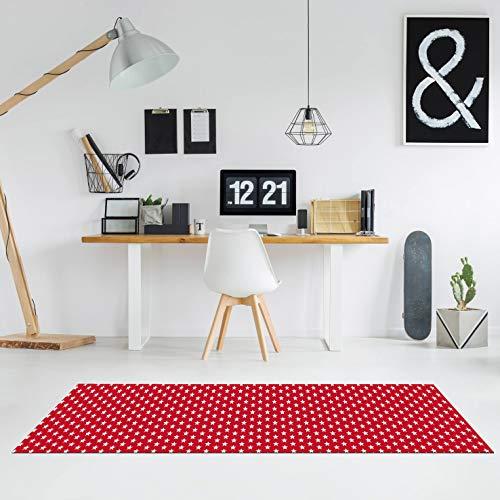 Comercial Candela Alfombra de Pasillo Vinilo Antimanchas, Lavable   Base PVC Antideslizante y Aislante Diseño Estrellas Color (Rojo, 52_X_200 CM)