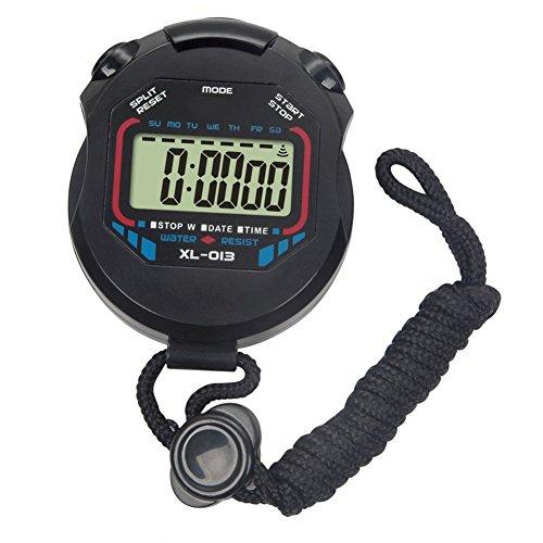 CYRISR Digital Sport Stoppuhr Timer, Handheld Stopwatch Intervall LCD Timer Mit Alarm Für Laufen Für Sports Training Fußball Basketball Laufen Schwimmen Fitness (Ohne Akku)
