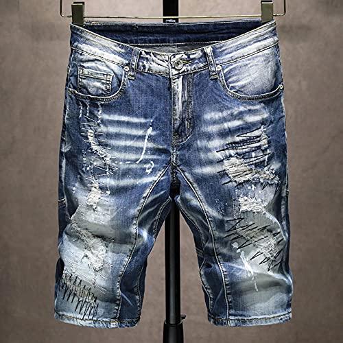 Pantalones Cortos de Hombre Summer New Men's Ripped Short Jeans Personality Fashion Heavy Craft Stretch Slim Cotton Denim Shorts M