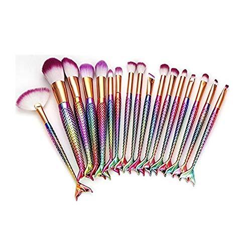Weant 17 Pièces Kit de Pinceaux Maquillage, Maquillage de Sirène Brosses Pour Les Yeux Cosmétiques Eyeliner Ombre à Paupières Blending Brush