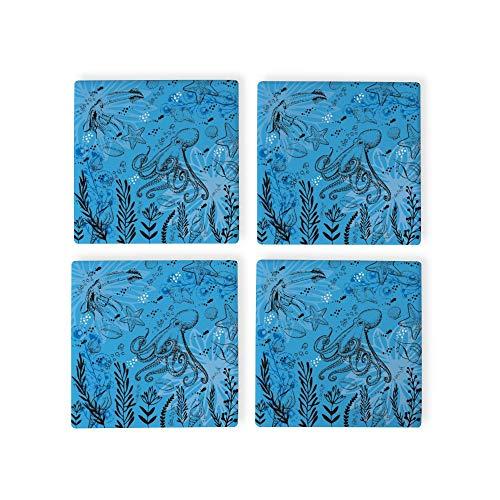 Juego de 4 posavasos de organismo con diseño de agua azul océano, posavasos para bebidas, tamaño estándar, posavasos cuadrados de goma, inauguración de la casa, cumpleaños, decoración del hogar