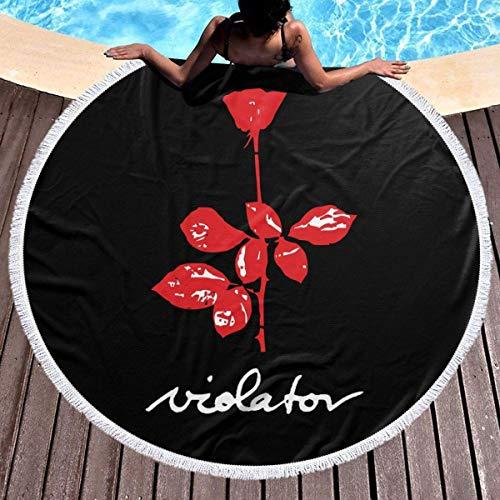 Leo-Shop Saunatuch 59 'Runde Strandtuch Decke - große Polyester Roundie Kreis Picknick Teppich Yoga Matte (Depeche Mode Violator)