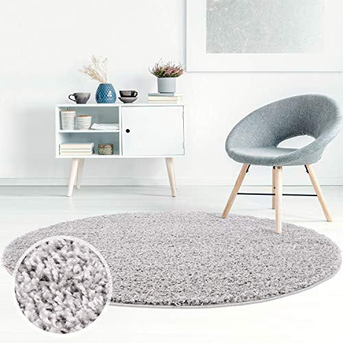 Carpet City ayshaggy Shaggy Teppich Hochflor Langflor Einfarbig Uni Grau Weich Flauschig Wohnzimmer, Größe: 160 x 160 cm Rund, 160 cm x 160 cm