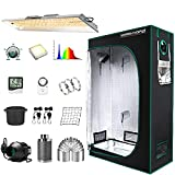 """MARS HYDRO Grow Tent Kit Complete 2x4ft TSL 2000W LED Grow Light Dimmable Grow Tent Complete System, 24'x48'x70' Hydroponic Grow Tent 1680D Growing Tent Set Full Spectrum with 4""""Ventilation System"""