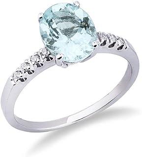 Gioielli di Valenza - Anello in oro bianco 18k con diamanti e acquamarina - ANN148BBA