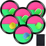 Aneco Toss and Catch Paddle Game Set Disc Paddles and Toss Ball Sport Game with Storage Bag, 6 Paddles and 6 Balls