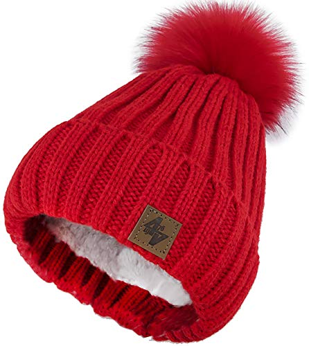 4sold Herren Damen Wurm Winter Style Beanie Strickmütze Mütze mit Fellbommel Bommelmütze Hat Gestrickte Pudelmütze Plain Ski Pom Wooly with Full Cosy Fleece-Futter (Red Red)