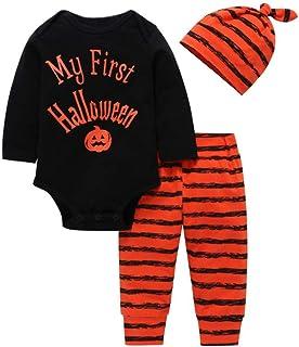 fabda8e45cdd2 Moonuy 3pcs Halloween Deguisement Costume Bébé Mon 1er Halloween Manches  Longues Enfants bébé Lettre Citrouille Imprimer