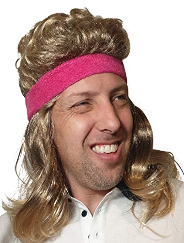 80s Mullet Hair Wig with Pink Headband for Men