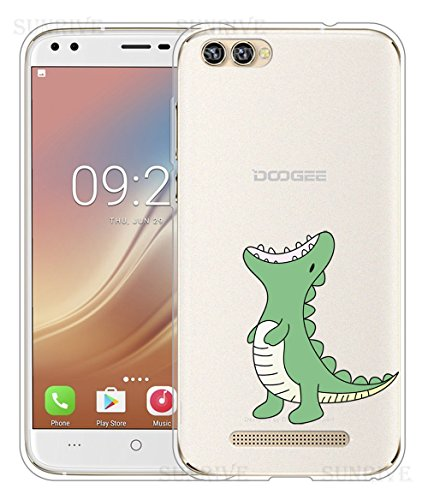 Sunrive Für DOOGEE X30 Hülle Silikon, Handyhülle Schutzhülle Etui Hülle Backcover für DOOGEE X30(TPU Dinosaurier)+Gratis Universal Eingabestift