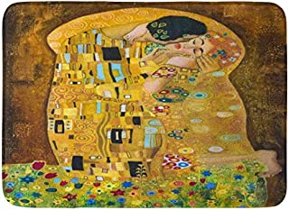 Amknu Brown Kiss Klimt Inspired Abstract Batik Painting Grounds of Gustav Purple Modern Background Pattern Flannel Bath Rugs Prevent Shifting and skidding Super Absorbent 3D Printing 60x40cm