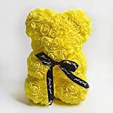Rose Bear, Rose Teddy Bear Artificial Rose Bear Teddy Decor Gift for Valentines Day, Mother's Day, Anniversary, Birthdays & Bridal Showers, Clear Gift Box Included 10 Inches(Yellow)