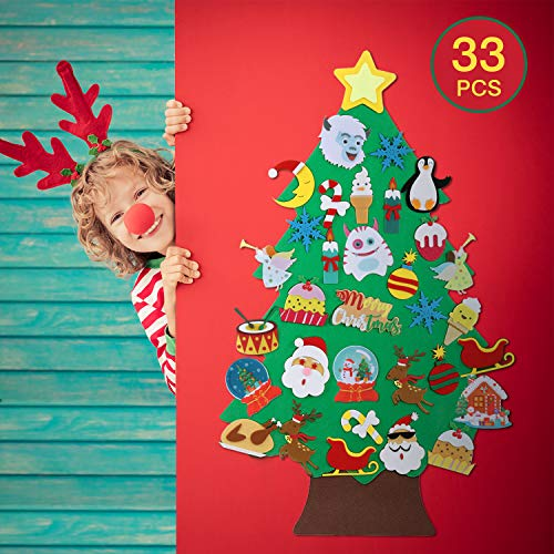 TOBEHIGHER 3.5ft DIY Felt Christmas Tree Set for Toddlers Kids - Xmas Decorations Wall Hanging 33 Ornaments Kids Gifts Party Supplies