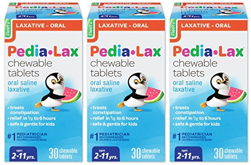 Pedia-Lax Oral Saline Laxative | Gentle & Safe Constipation Relief for Kids | Watermelon Flavor | 30 Chewable Tablets | Pack of 3