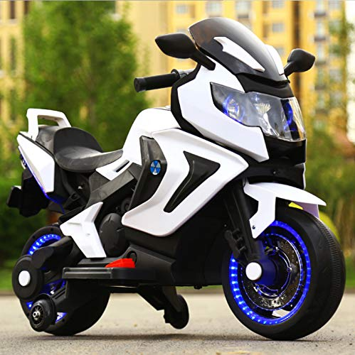 FP-TECH Moto ELETTRICA per Bambini Motocicletta 2 POSTI 12V con USB MP3 LED (Bianco)