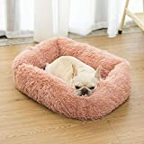 CALHNNA Pet Dog Bed&Cat for Small Pets, Comfortable Fur Square Ultra Soft Washable Dog Cat Cushion Bed