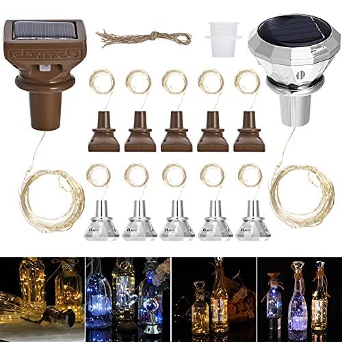 Queenromen 10 Pezzi Tappi con luci per Bottiglie solari, 20 LED Filo di Rame Catena Luminosa Stringa...