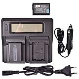 DSTE® 2 Pack Repuesto Batería NP-FW50 + LCD Cargador Doble Canal Compatible para Sony Alpha 7 a7 7R a7R 7R II a3000 a6000 a6100 a6300 a6400 a6500 NEX-6 NEX-7 NEX-C3 SLT-A33 SLT-A35 Digital Cámara
