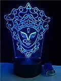Luz nocturna 3D con forma de maquillaje chino 3D, ilusión 3D, luz nocturna USB RGB que cambia de color, mesa de escritorio, dormitorio, lámpara LED para niñas, amantes, regalo para niños