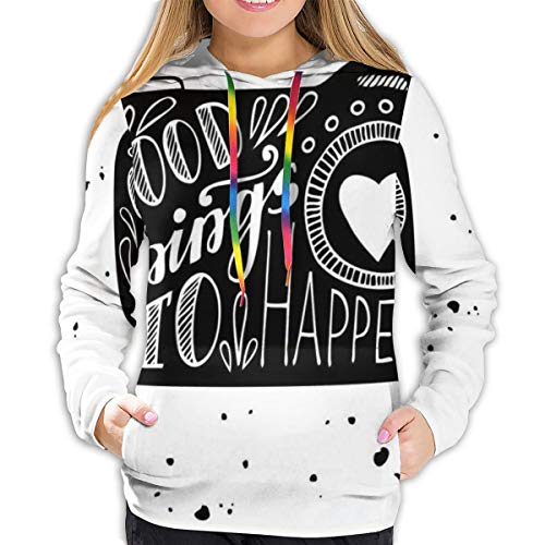 MSGDF Women's Hoodies Tops,Good Things to Happen Words with Leaves Blooms Ornaments Grunge Happiness Print,Lady Fashion Casual Sweatshirt(S)