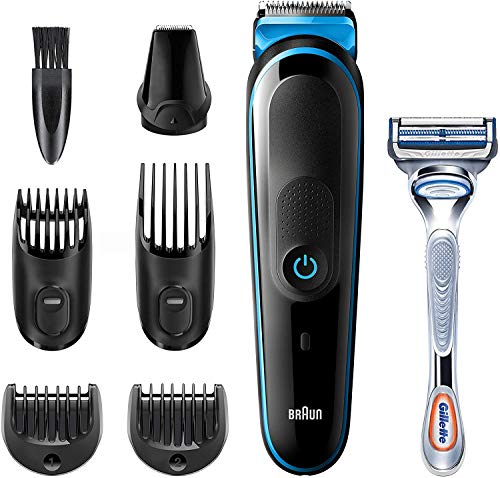 Braun Recortadora MGK3242 7 en 1, Máquina recortadora de barba, cortapelos y recortadora facial para hombre, color negro/azul