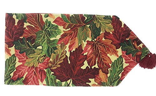 Tache Thanksgiving Leaves Fall Foliage Long Tapestry Warm Colorful Table Runners 13 x 90 Inches