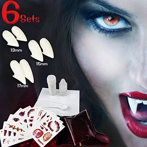 Vampire Fangs with Adhesive, 3 Pairs Fake Vampire Teeth with Glue Cosplay for Halloween Party Prop, Realistic and Reusable for Adult and Kids Makeup