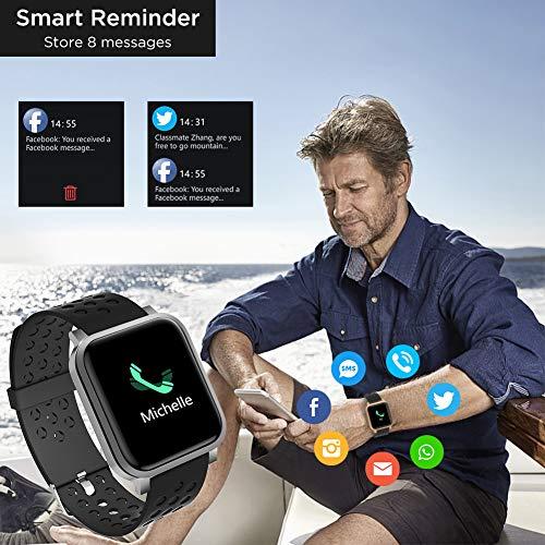 Smartwatch, Reloj Inteligente Impermeable IP68 Hombre Mujer con Pulsómetro,Cronómetros,Calorías,Monitor de Sueño,Podómetro Pulsera Actividad Inteligentes Smart Watch Reloj Deportivo para Android iOS miniatura